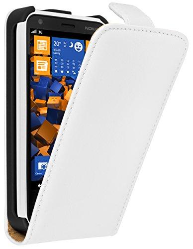 mumbi Echt Leder Flip Case kompatibel mit Nokia Lumia 620 Hülle Leder Tasche Case Wallet, Weiss