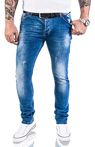 Rock Creek Designer Herren Jeans Hose Stretch Jeanshose Basic Slim Fit [RC-2132 - Blue Washed - W38 L34]