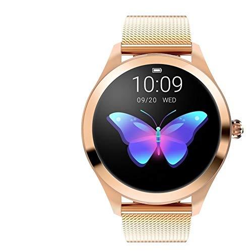 ZYXM Frauen-Uhr-Runde Wasserdicht Touch Screen KW10 Fitness Tracker, mit Pulsmesser, weiblich Physiologische Erinnerung, Schwimmen Mult Sport-Modus, Sport-Uhr unterstützt Huawei Samsung iPhone
