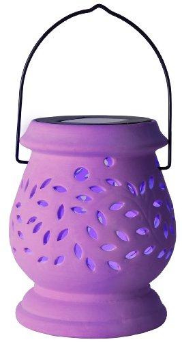 Best Season Lanterne solaire LED Clay Lantern/1 Cool Light LED/avec panneau solaire, avec batterie/extérieur/lilas 477–49