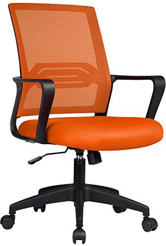 COMHOMA Bürostuhl Ergonomisch Schreibtischstuhl Drehstuhl mit Netzrückenlehne Wippfunktion höhenverstellbar Orange