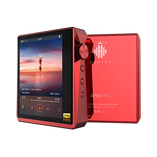 HIDIZS AP80 PRO Hi-Fi Bluetooth MP3 Player, Portable Hi-Res Digital Music Player with LDAC/aptX/DSD/FM Radio, Lossless Music Player with Full Touch Screen (Red)