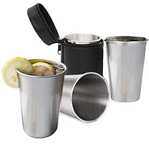 CZ-XING Gläser aus Edelstahl, Weinbecher, Bier, Kaffee, Tee, Getränke, stapelbar, für Camping, bruchsicher, 4 Stück