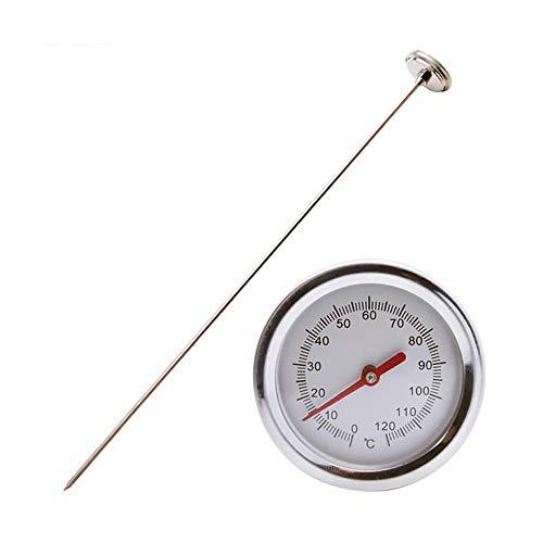 Whuooad Termómetro de compost, termómetro de acero inoxidable bimetálico de esfera Celsius de respuesta rápida para compostaje