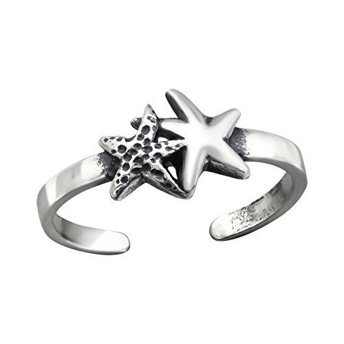 ICYROSE 925 Sterling Silver Above Knuckle Ring Mid Finger Top Stacking or can use for Toe Ring Summer Women's Adjustable (Starfish 27180)