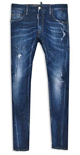 DSQUARED2 Herren Jeans Tidy Biker Jean Size 48 50 52 54 Navy Distressed Dsquared 2