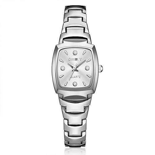Uhr Rose Gold Mode Edelstahl Armbanduhr Strass Ellipse Kreative Damen Kleid Quarzuhr 26cm Silber Weiss