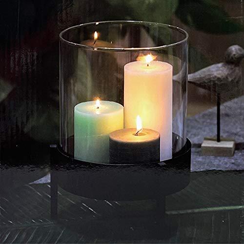 Mojawo Kerzenständer Windlicht Laterne Kerzengefäß Teelichthalter Kerzenhalter Glas mit Metallständer Ø19xH25cm