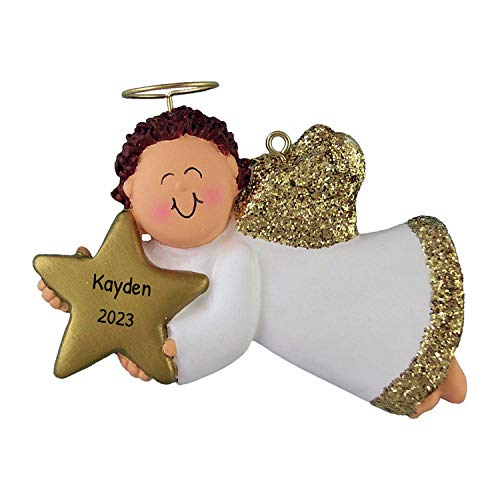 Personalized Angel with Star Christmas Tree Ornament 2020 - Brunette Male Religious Prayer Heaven Man Gold Dress Wings Boy Halo Memorial Remembrance Choir - Free Customization (Brown Hair)
