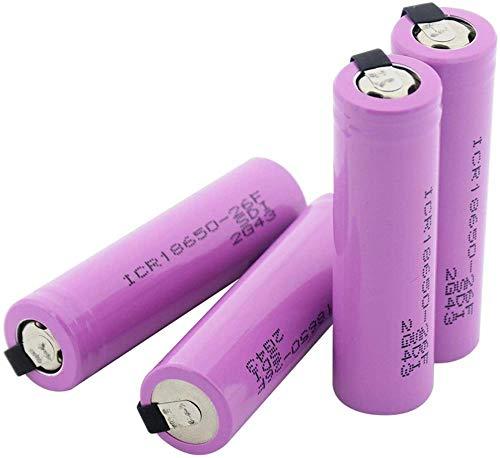 18650 26f batería de Repuesto con 2 pestañas para Radio de Faro 3.7v 2600 Mah batería de Iones de Litio 1 Pieza-4 Piezas
