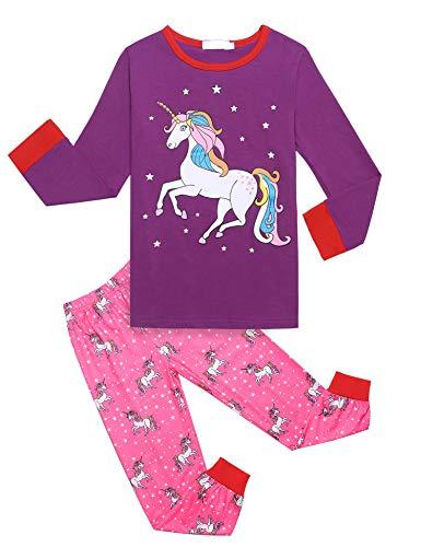 Mädchen Schlafanzug Einhorn Drucken Nachtwäsche Kinder Bekleidung Pyjama Set Zweiteiliger Schlafanzüge Lange Ärmel Bekleidungsset Herbst und Winter, Lila, 120