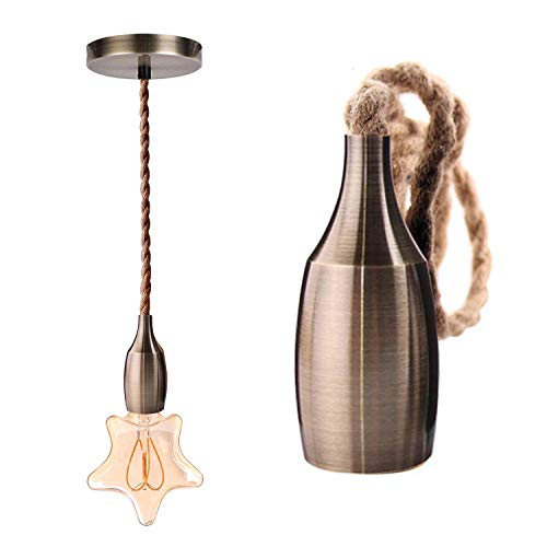 Genixgreen Nordic Pendelleuchten Leuchte Moderne Kreative Hängelampe Industrie Bar Pendelleuchte 100 CM Seil Lampe DIY für Schlafzimmer Wohnzimmer E27 Bronze lampenfassung Holder (ohne Glühbirne)