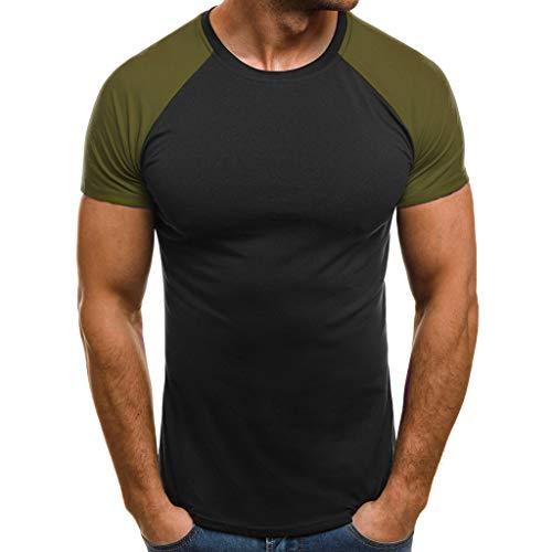 Preisvergleich Produktbild UJUNAOR Männer Patchwork Kurzarm T-Shirt Casual O Hals Muscle Fitness Shirts Tee Top Shirt Bluse Sommer(Grün, X-Large)