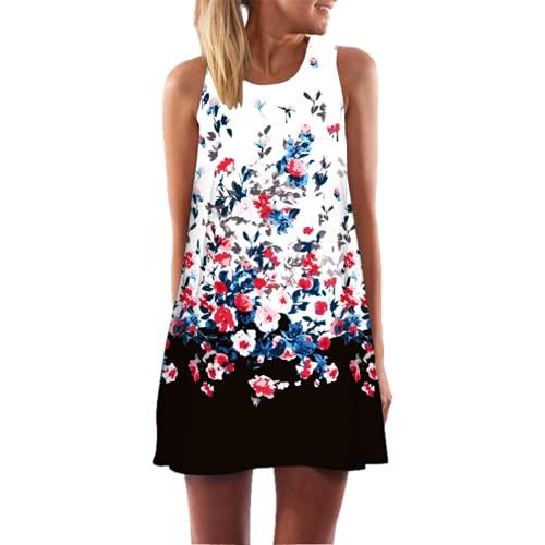 N\C Casual Waist Dress Bohemian Floral Print Beach Skirt Sleeveless Elegant Mini Dress Pleated Skirt Ladies Summer 3D S