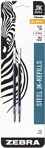 Zebra G-301 Stainless Steel Pen JK-Refill, Fine Point, 0.7mm, Blue Ink, 2-Count
