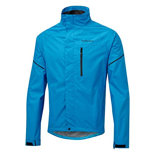 Altura Nevis Mens Waterproof Cycling Jacket - Blue/Reflective, Medium/Water Wet Weather Rain Resistant Coat Hi Viz High Visibility Mountain Road Commute Bike Ride Cycle Wear