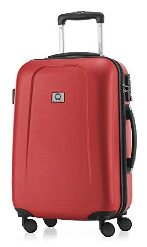 HAUPTSTADTKOFFER - Wedding - Handgepäck Koffer Kabinen Hartschalen-Koffer Trolley Rollkoffer Reisekoffer, TSA, Doppelrollen 55 cm, 42 Liter, Rot