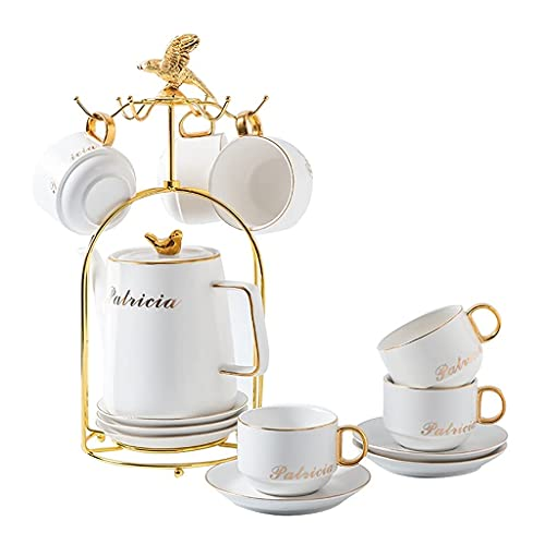 Latte Art Cup Espresso Café de café Conjunto de 12 piezas, tazas de porcelana inglesa y platillos a juego 6 cucharas 1 tetera, oficina en casa fácil de limpiar, simple mano dibujada oro negro beefezon