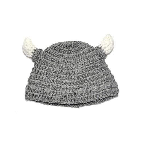 Deanyi Baby Bull Horn Mütze Handmade Knitting Viking Hut Rind Horn Kappe für Jungen Mädchen Grau Kleidung