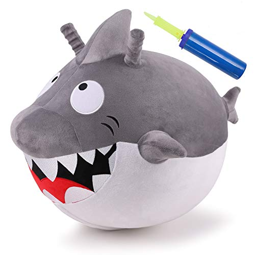 iPlay, iLearn Kids Shark Hopper Ball, Plush Bouncy Ride on Hopping Toys, Indoor n Outdoor Inflatable Jumping Ball W/ Pump, Unique Yard Riding Gifts for 18 Months 2 3 4 5 Year Olds Toddlers Boys Girls