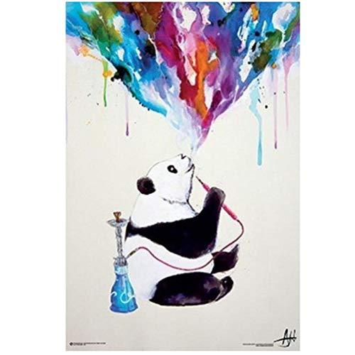 Non-branded artaslf Aquarell Panda Shisha Rauchen Leinwand Malerei Druck und Poster für Haus und Wohnzimmer Wanddekoration- 40x60cm ungerahmt