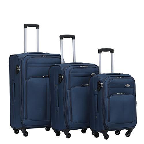 BEIBYE 4 Rollen Reisekoffer 3tlg.Stoffkoffer Handgepäck Kindergepäck Gepäck Koffer Trolley Set-XL-L-M (Blau, Set)