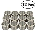 HSC Stainless Steel Magnetic Multi-Purpose Spice Storage Tins Clear Top Lid with Sift or Pour Magnetic on Refrigerator,Dull Polish