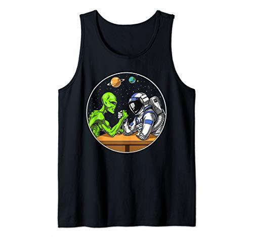 Space Alien Astronaut Arm Wrestling Science Fiction Cosmic Tank Top