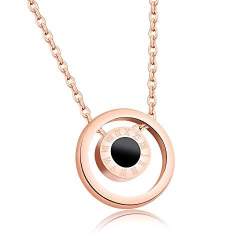 Collar Números romanos Collar de niña redonda de concha blanca y negra de doble cara Cadena de clavícula Colgante de acero de titanio
