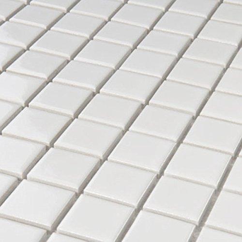Keramik Mosaik Fliesen Weiss Glänzend 25x25x4mm
