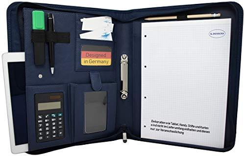 Schreibmappe K.DESIGNS A4 blau – Die Mappe ist aus hochwertigem imitiertem Leder - Ihr idealer Organizer mit Reissverschluss und Ringbuch zum Aufbewahren von Dokumenten – Perfekt als Konferenzmappe