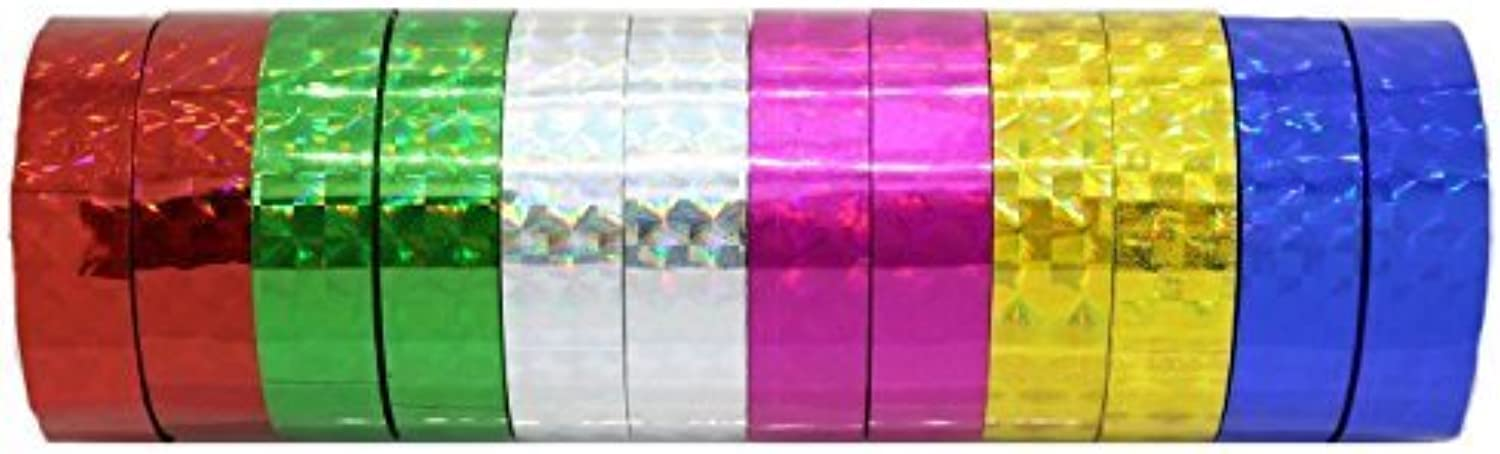 Hula Hoop Washi Prism Tape 12MM x 15 Yards  6 Holographic colors by Zugar