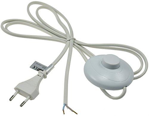 Euro Kabel mit Fuß-Schalter 2m für Lampen Leuchten Geräte 2-polig Tret-Schalter Weiß