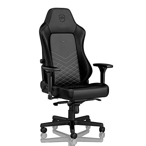 noblechairs Hero Silla de Gaming - Silla de Oficina - Cuero Sintético PU - Diseño de Asiento de Carreras - Negro/Blanco