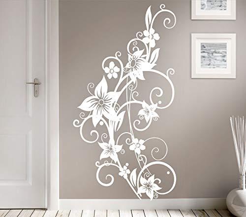 Grandora W951 Wandtattoo Blumenranke weiß (BxH) 58 x 110 cm
