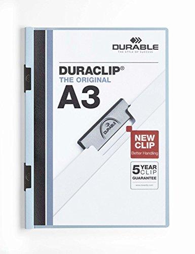 Durable 221806 Klemm-Mappe Duraclip A3, Hartfolie, bis 60 Blatt A3, blau, 10er Pack