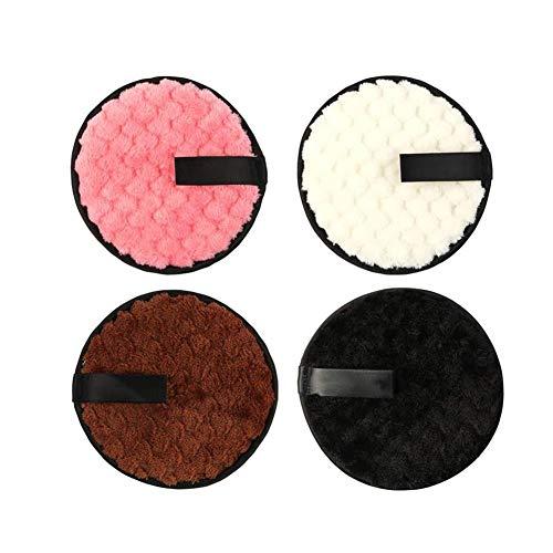 Reutilizable desmaquillante de ratón, paquete de 4 reutilizable Rondas suave facial de limpieza Toallas Puffs Puff removedor de maquillaje de algodón lavable, de doble cara Limpiador facial 4pcs