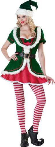Women's Holiday Honey Elf Costume in Green/Red