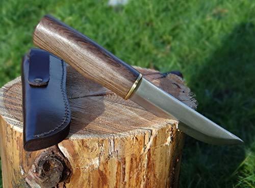 Maximtac Handgemachte Jagdmesser mit feststehender Klinge, massiver Walnussholz Griff + Lederholster, Scheide aus Rind-Leder
