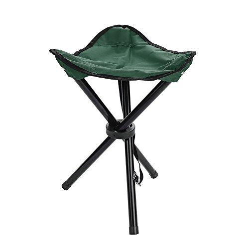 Alomejor Dreibeinhocker Klappstuhl zusammenklappbar Campinghocker für Camping Angeln Reise oder Strand Einfach zu Lagernfür (小号-Green)