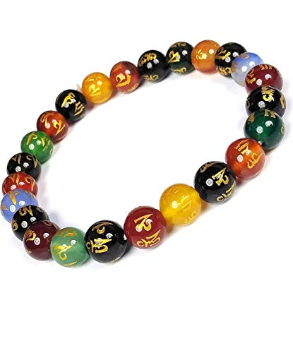 DHYANARSH Om Mani Padme Hum Engraved Multicolor Stone Crystal Bracelet