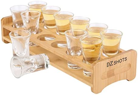 D Z 12 Pcs Shot Glass Set with Tray Thick Base Crystal Clear Shot Glasses and Bamboo Holder product image