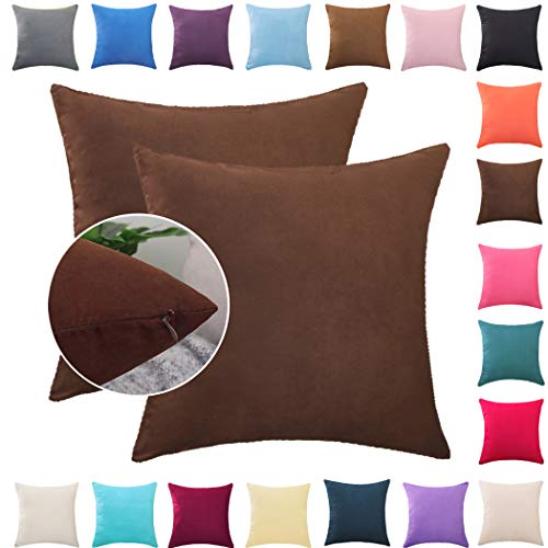 Donbest Fundas de Cojines 2 Piezas Terciopelo Funda de Almohada Color Sólido del Sofá Cama Coche Throw Cojín Decoración Almohada Caso de la Cubierta Decorativopara Sala de Estar Chocolate 40x60 cm