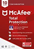 McAfee Total Protection with Safe Connect VPN 2021 , 10 Device, Antivirus Internet Security Software, VPN, Password Manager, Parental Control, Privacy, 1 Year, Key Card