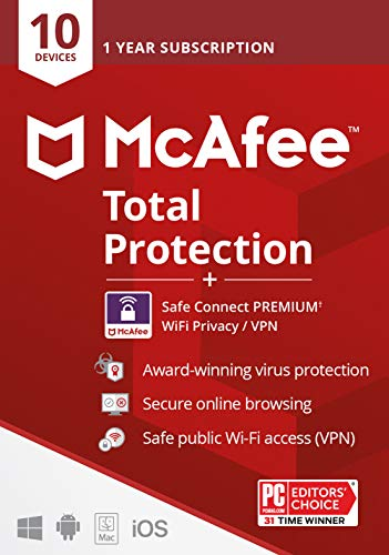 McAfee Total Protection with Safe Connect Vpn, Includes Antivirus, Internet Security, 1-Year Subscription, 2021 (10-Users)