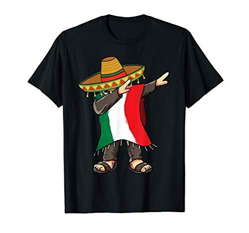 Mexican Flag Poncho Man Dabbing Cinco de Mayo T-Shirt
