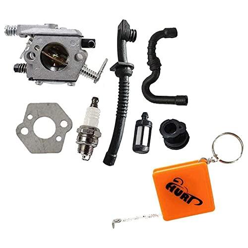 Gmasuber Carburador con junta línea de combustible para motosierra Stihl MS180 MS170 017 018