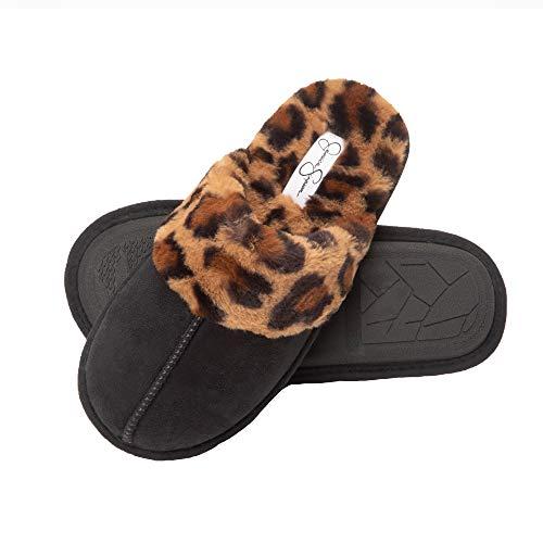 Jessica Simpson womens Comfy Faux Fur House Scuff Memory Foam on Anti-skid Sole Slipper, Black/Leopard, Medium US