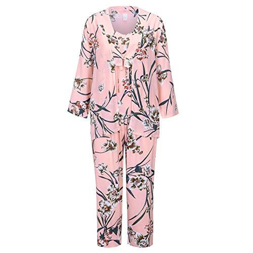YLXB Lencería Mujer Pijama de Encaje de Seda Conjuntos de Bata Trim Satin Cami Tops Sexy Babydoll Ropa de Dormir Camisón Conjunto de Pijama Sexy 3 Piezas