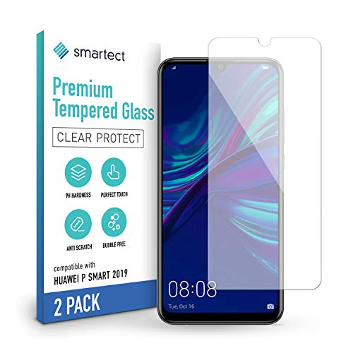 smartect Pellicola Protettiva per Huawei P Smart 2019 [2 Pezzi] - 9H Vetro Temperato – Design Ultra Sottile – Applicazione Anti-Bolle – Anti-Impronte